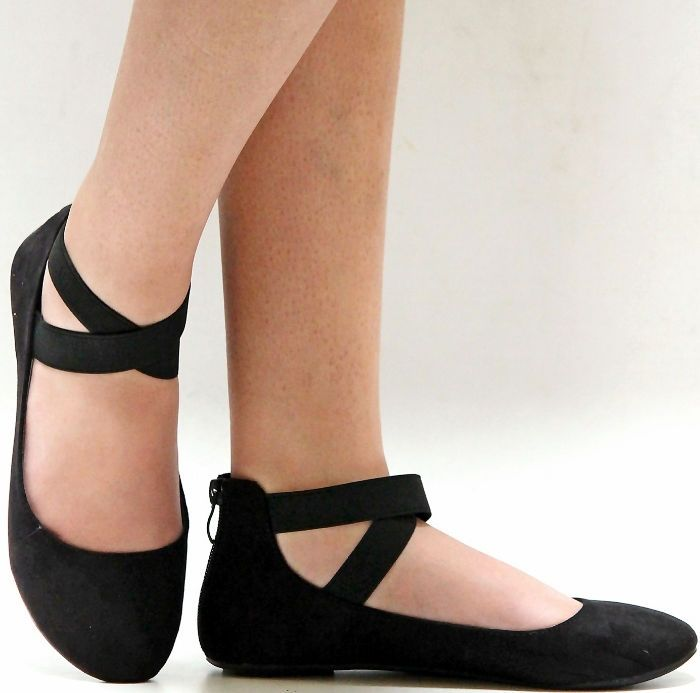 New Women Black Mary Jane Ankle Strap Ballet Flats sz 5 to 10 #2791