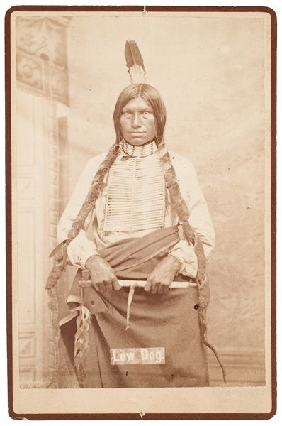 Studio portrait of the great warrior and Minneconjou Chief, Low Dog who fought at the Battle of Little Big Horn and engaged both Reno and Custer.