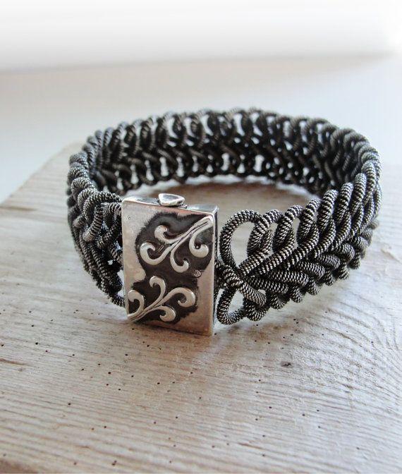 Woven Sterling Silver Bracelet Heringbone style by StaroftheEast