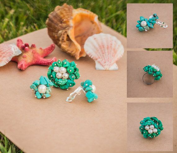 Handmade ring with pearl and turquoise green