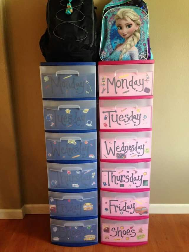 School week clothes organization