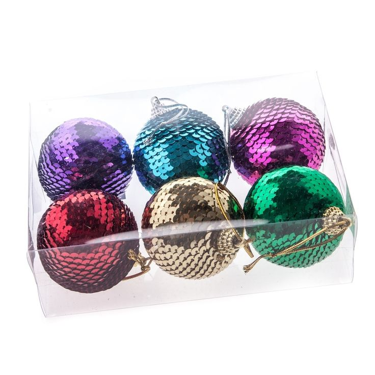 sequin decorations | Gisela Graham Christmas Pack of 6 Sequin Bauble ...
