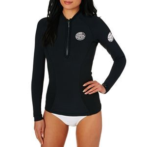 Rip Curl Wetsuit Jackets - Rip Curl Womens G-Bomb 1mm 2017 Front Zip Long Sleeve Wetsuit Jacket - Black
