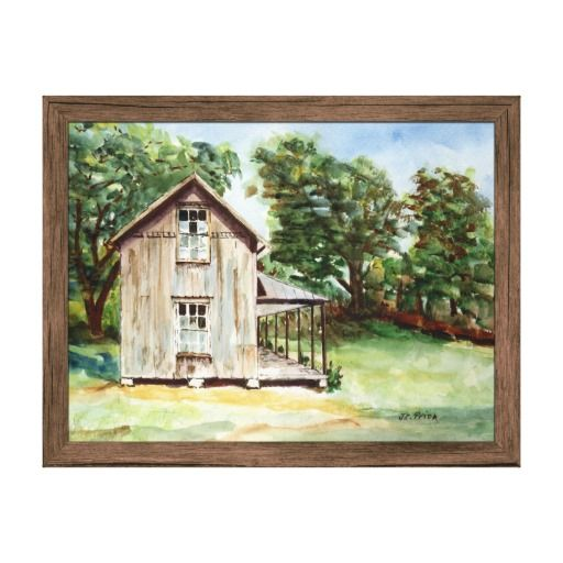 New painting! Old Florida Homestead Now available on posters, canvas, plaques, and other art products. Will be rolling out to many more products soon.An old Florida homestead stands against a background of green trees in this watercolor painting. The viewpoint faces the side of the brown-gray wood-frame house, with the front porch extending to the right side of the home. Two windows on the side of the two-story house have several glass panels knocked out. The forgotten homestead stands as a…