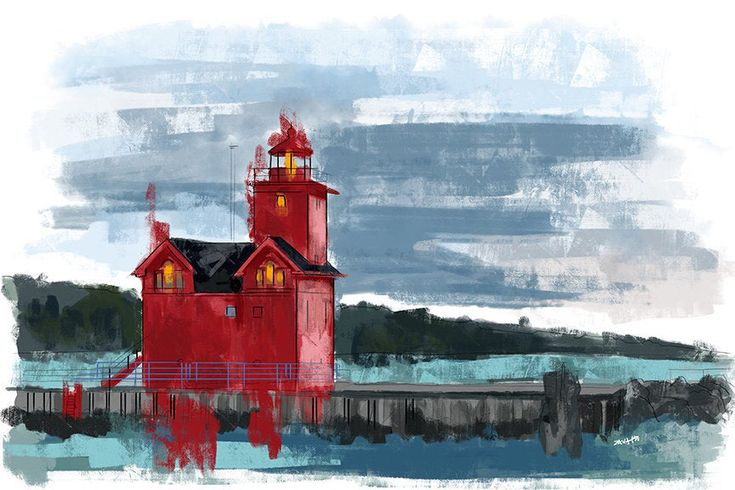 """Holland Harbor /""""Big Red/"""" Lighthouse Lake Michigan Matted Watercolor Art Prints"""