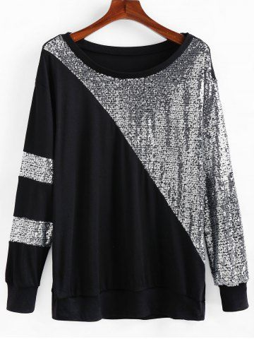 Plus Size Glitter Sequined Two Tone Drop Shoulder Sweatshirt 1