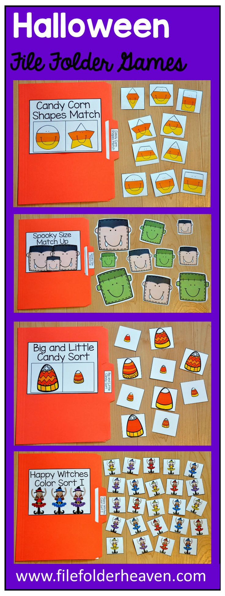This Halloween File Folder Games Mini-Bundle focuses on basic matching and sorting skills.    This set includes nine unique file folder games with four bonus games for differentiation (for a total of 13 games!) These activities  focus on basic skills, such as matching picture to picture, matching shapes, matching numbers, matching letters, matching by size, sorting by size, sorting by color, and sorting by likeness and differences.