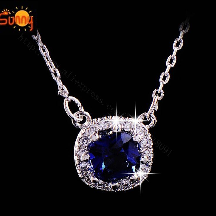 Новинка драгоценности романтический круглый синий сапфир ожерелье для женщин леди подарок любовника