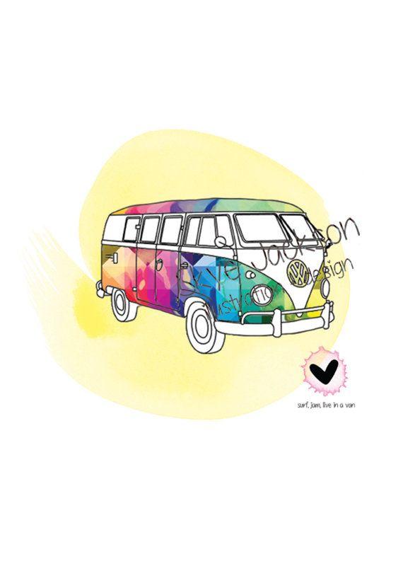 vw kombi van hippie boho rainbow illustration by SkyeJack on Etsy, $20.00