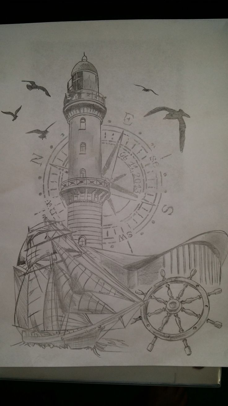 i like the compasses placement behind lighthouse