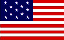 """U.S.S. Ranger Flag - Image by Mark Sensen). On April 24, 1778, Captain John Paul Jones, in command of the U.S.S. Ranger and flying this flag, became the first American officer to have the American flag recognized by a foreign power.  Although very similar to the original Hopkin's flag, this flag replaced the six-pointed stars with the more traditional five-pointed """"American"""" stars."""