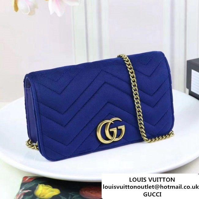 bfcf84186e3 Gucci GG Marmont Velvet Mini Bag 488426 Blue 2017 (XYS-7111416 ...