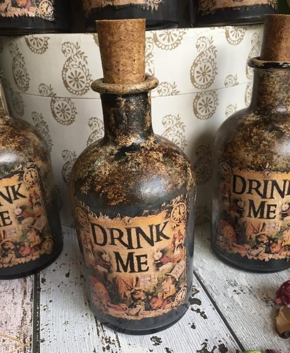 Steampunk Alice In Wonderland Bottle Steampunk Bottle Alice Etsy In 2021 Steampunk Bedroom Alice In Wonderland Gifts Alice In Wonderland Room