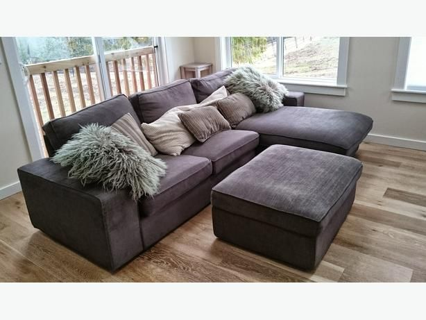 Like New Ikea Kivik Loveseat Sofa With Chaise Matching Ottoman Extras Home Decor