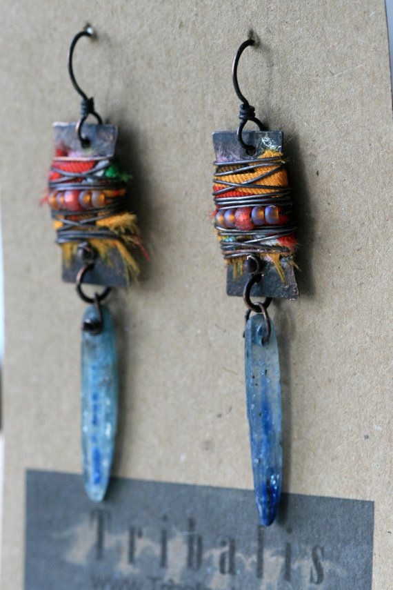 Alegria,Alegria - Shabby Rustic Assemblage Gipsy Rustic Hippie Tribal Copper Recycled Jewelry Festive Orange /etsy