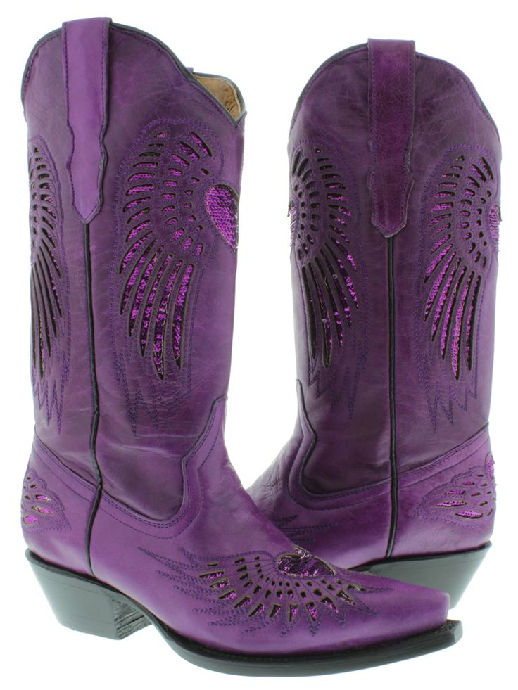 women western boots with purple | Women's Ladies Purple Leather Sequins Cowboy Boots Western Riding ...