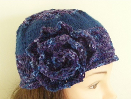 Blue Hand Kniited Chenille Flower Beanie Hat   SORRY SOLD