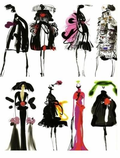 Mom wanted to be a fashion illustrator too.  She designs and hand sews all her costumes for her stage appearances... Christian Lacroix
