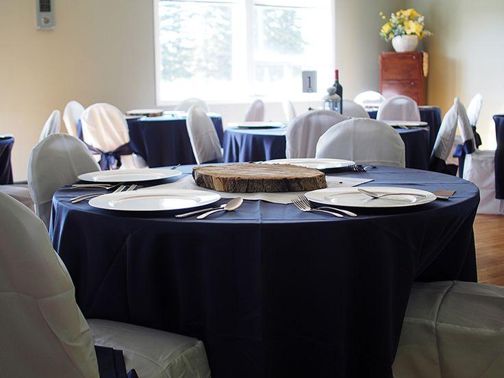 Wedding reception setup at Club60 Roses in Legal, Alberta.