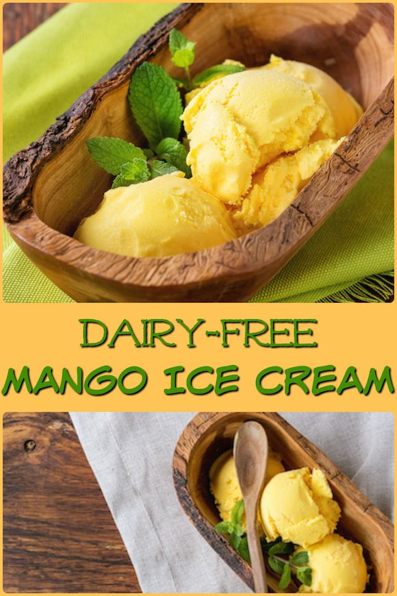 Dairy-free Mango Ice Cream that only has 4 ingredients. You can blend and freeze this recipe, no ice cream maker required. Vegan and paleo.