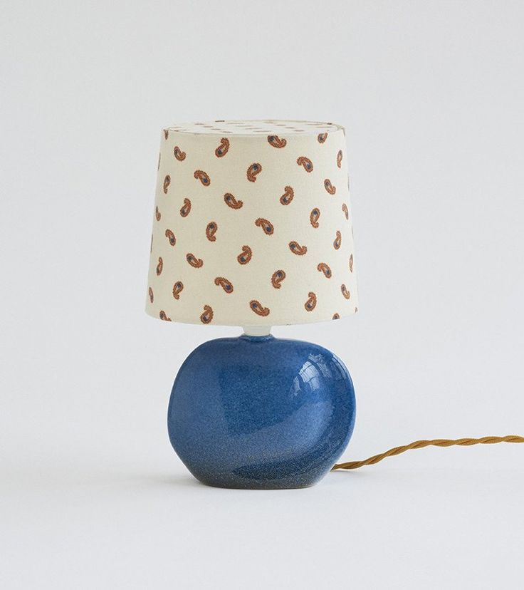 Small ceramic table lamps. Shade in vintage textileTwo available, price is per lampH27 cm Mid-century, France