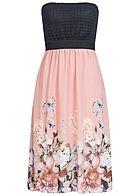 Styleboom Fashion Damen Midi Bandeau Kleid Blumen Muster Brustpads Spitze schwarz rosa - 77onlineshop
