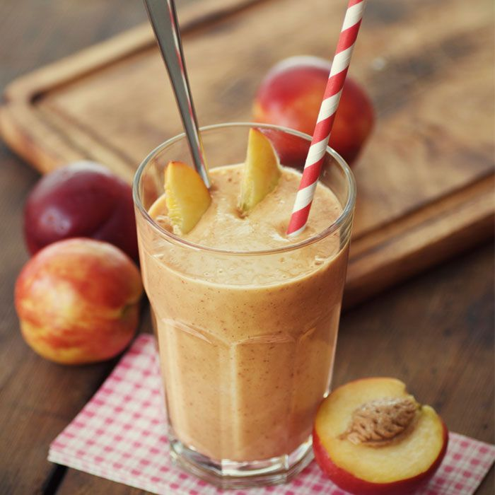 You'll never taste that there's a superfood veggie hiddenamongst peaches, banana, and flavorful spices like cinnamon and nutmeg in this thick, creamy, and just-sweet-enough shake.