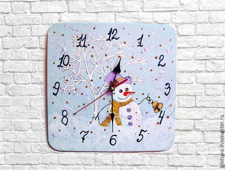 Купить Часы детские настенные Снеговик Зима - голубой, нежность, снеговик, Снег, часы