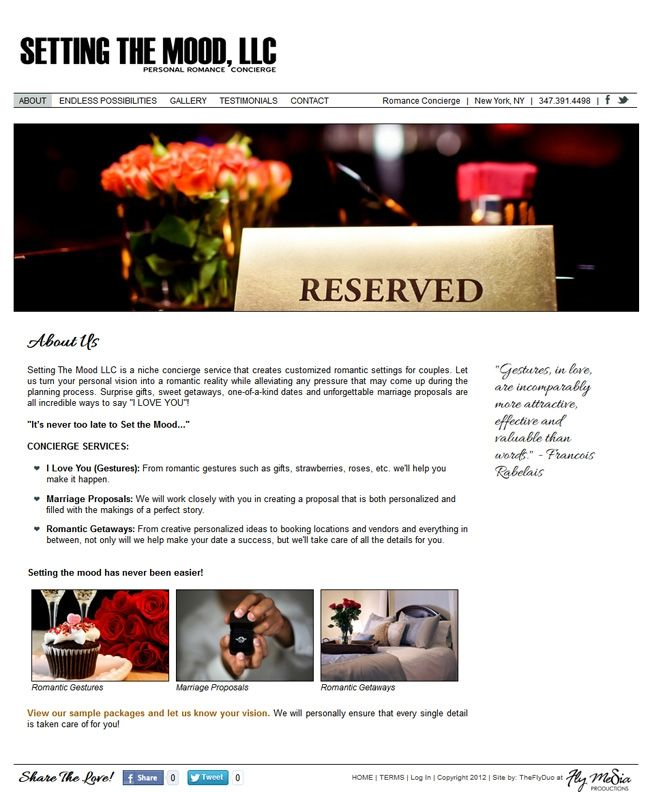 Project: Setting the Mood, LLC | Custom Website Design & Development by the FlyDuo at Fly Media Productions