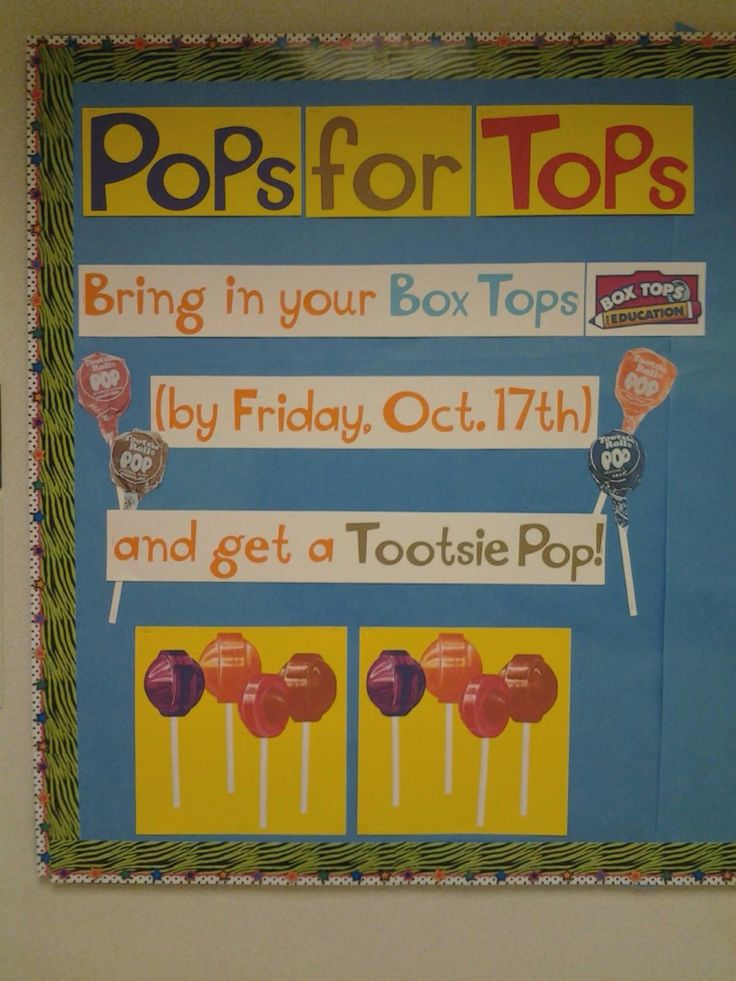 Box tops bulletin board ideas