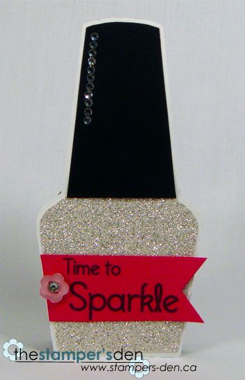 Sparkle Karrie Snider Nail Polish Shaped Card 40th Birthday Cards 50th Birthday Cards