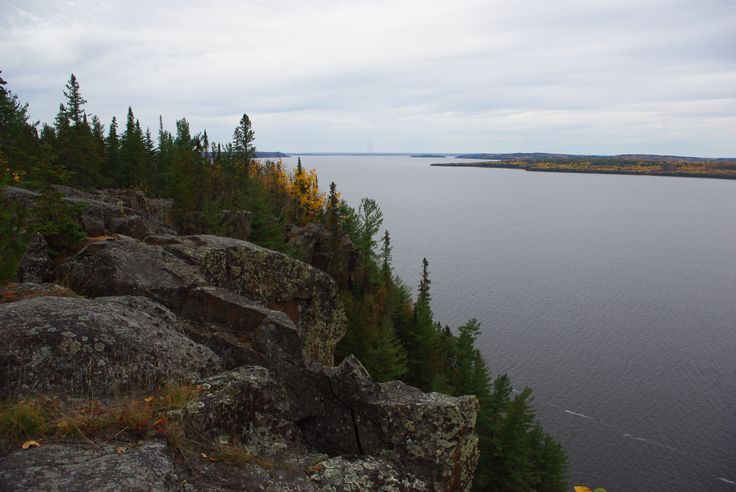 Beautiful Lake Temiskaming surrounded by autumn leaves.Massive cliffs.