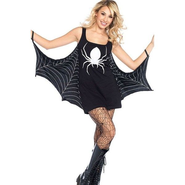 Black Spider Woman Bat Dress Halloween Cosplay Costume ($23) ❤ liked on Polyvore featuring costumes, bat halloween costume, role play costumes, cosplay costumes, cosplay halloween costumes and bat costume