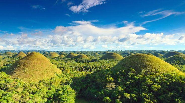 Les Chocolate Hills - Sur l'île de Bohol, 1268 collines coniques de taille similaire composent un étonnant paysage. Leur couleur brune évoquant le chocolat a suggéré leur nom.