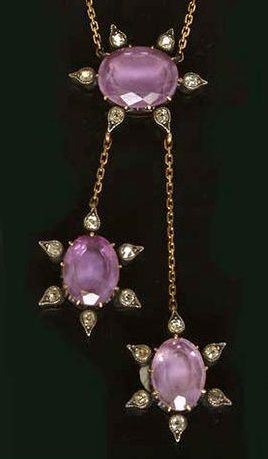 A late Victorian amethyst and diamond necklace, circa 1890.