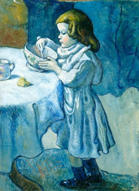 'Le Gourmet', 1901. One of Pablo Picasso's paintings from his Blue Period, which refers to a series of paintings in which the color blue dominates and which he painted between 1901 and 1904. The blue period is a marvelous expression of poetic subtlety and personal melancholy and contributes to the transition of Picasso's style from classicism to abstract art.