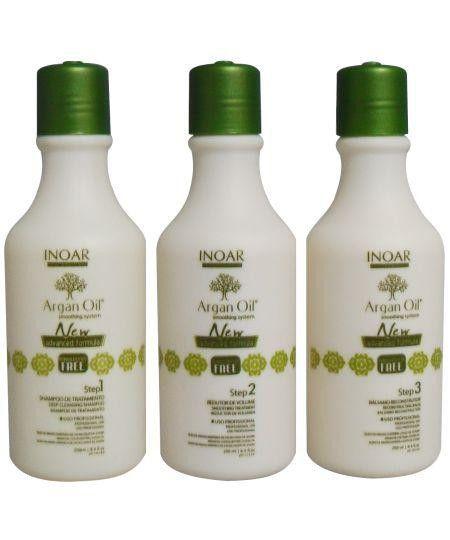 Escova Progressiva Inoar Argan Oil Sem Formol - Kit 3x250ml