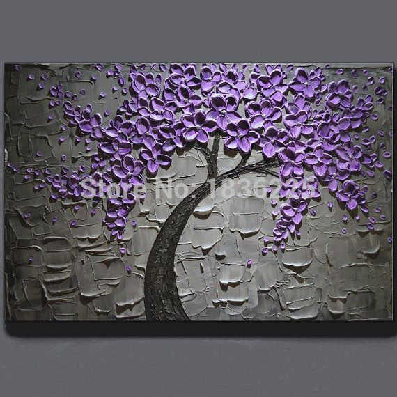Hand Made Oil Painting On Canvas Tree Purple Flower Oil