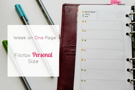 #Filofax #personal insert  Week on One  #Undated sheets  by PlanInk #Weekly #Planner