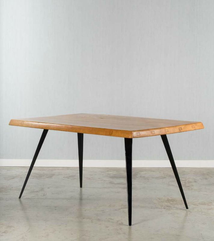 Charlotte Perriand; Wood and Enameled Metal Table, c1952.