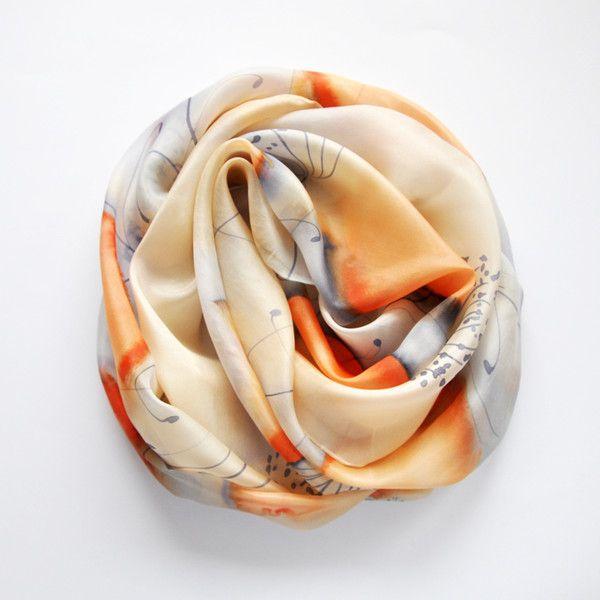 Jedwabny malowany szal - niebieski z pomarańczowym - MalowanyJedwab - Szale jedwabne