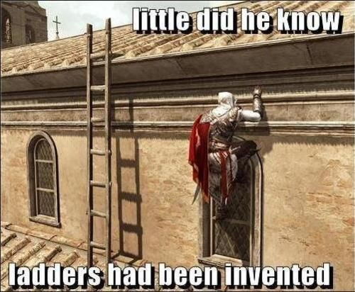 Assassins creed humor. Lol so true. I've done this so many times too.....
