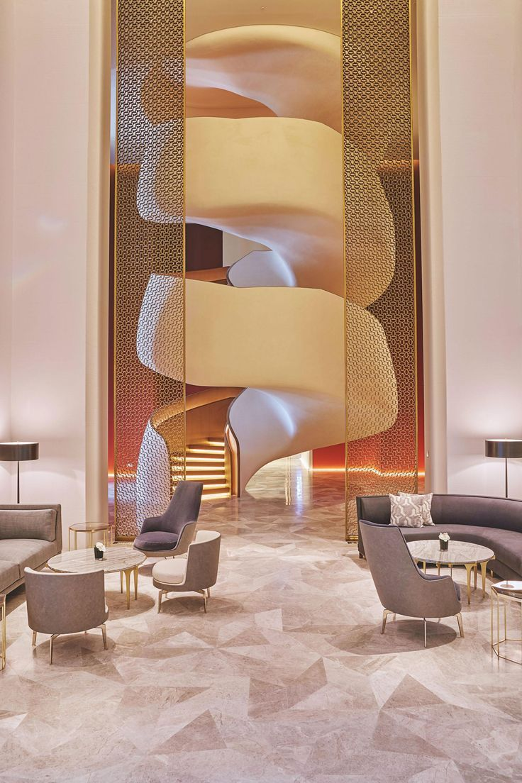 First Look Four Seasons Hotel Kuwait Contemporary Interior Design Modern Interior Design Stairs Design