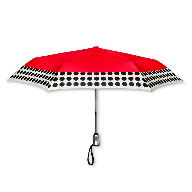 ShedRain Compact Auto Open/Close Umbrellas - Red Polka Dot