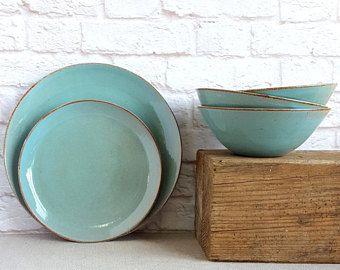 Light Blue Dinnerware set, Stoneware Dinnerware, Wedding Gift Idea, Gift For The Couple, Handmade Turquoise Dinnerware set, Christmas Gift