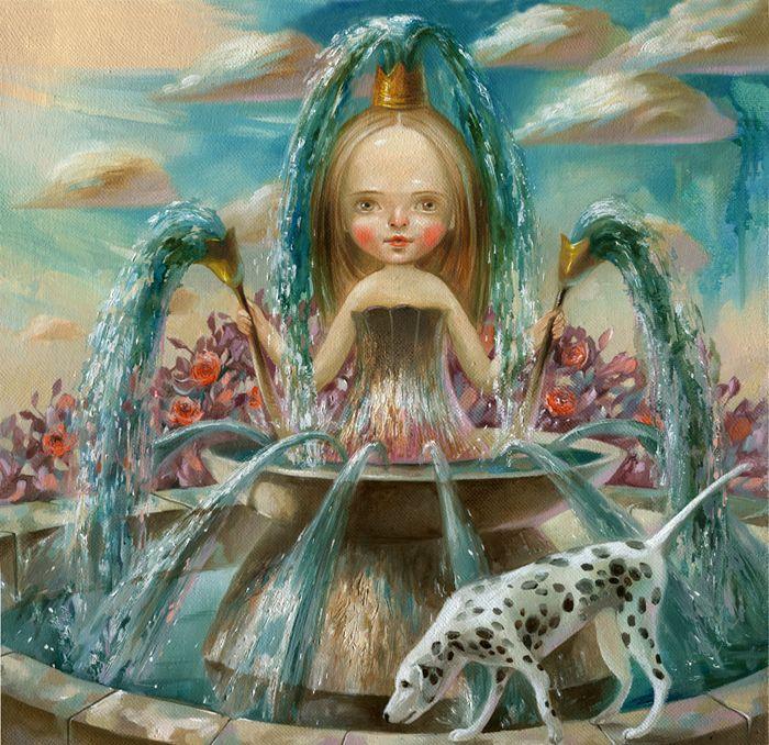 Nataliya Derevyanko. The fountain, oil on canvas, 30x30 cm.