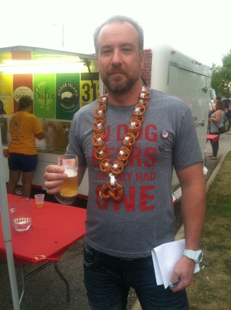 Pretzel necklace.  Columbus summer beer fest 2014