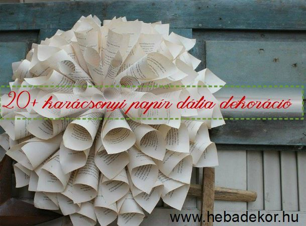 DIY papírvirág dekoráció régi könyvlapokból