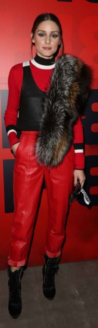 Who made  Olivia Palermo's red stripe sweater, pants, and scarf?