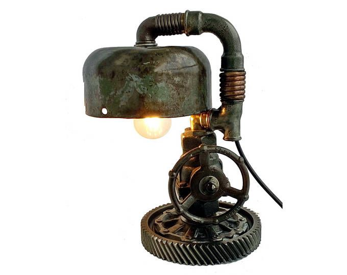 Retro table lamps, Night stand lights, Lamp for bedroom side table, Pipe desk lamp, Industrial steampunk lighting, Edison style light